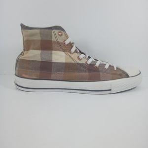 Converse Mens 13 Brown Plaid Hi Top Chuck Taylors